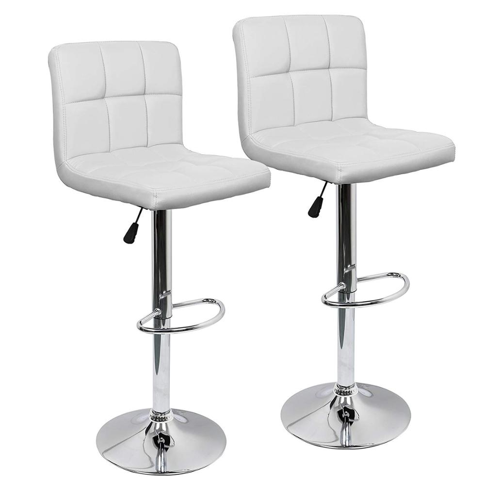 Bar Chair Adjustable Swivel Bar Stools Set Of 2,Faux Leather Gas Lift Modern Square Kitchen Chairs With Back DE