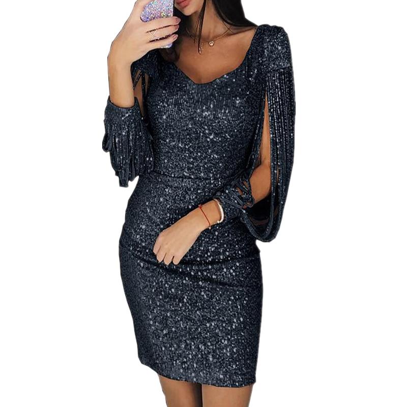 Summer Glitter Elegant Fringes Dress Women V Neck Evening Party Sleeveless Tasse lParty Dresses Club Dress Vestidos