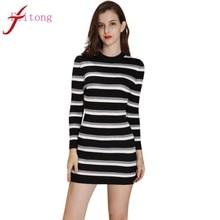 (Ship from US) Autumn Winter Dress Women Long Sleeve White Black Striped  Cardigan Casual knitting Sweater Dress Sexy Sheath vestidos mujer 31ad4f78f7f4