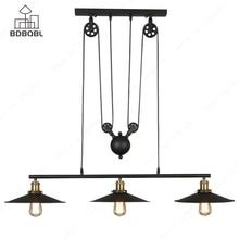 BDBQBL Retro Industrial Decor Metal Pendant Lights 1/3 Heads Black Iron Loft Hanging Lamp E27/E26 Bulb Bedroom Kitchen Hanglamp стоимость
