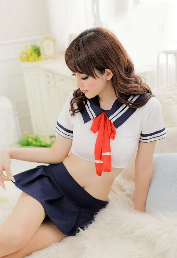 Sexy Lingerie Traditional Student Uniform Sexy Atrrctive Girl Cosply Costume On -8521