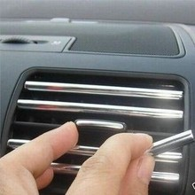 HUANLISUN 3metres U Style decoration strip Grille Chrome car Automotive air conditioning outlet blade car styling tuyeres