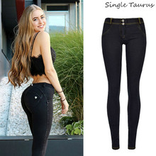 High Street Push Up black Denim Pants Mujer Low Waist Skinny Pencil Pants Femme Super