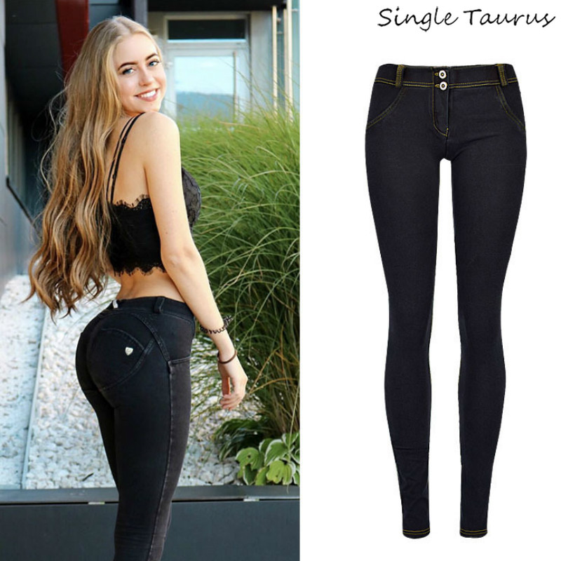 cb430c1360b6 High Street preto Push Up Calças Jeans Cintura Baixa Skinny Calças Lápis  Femme Mujer Moda Super Estiramento Magro Conforto Macio calças de brim
