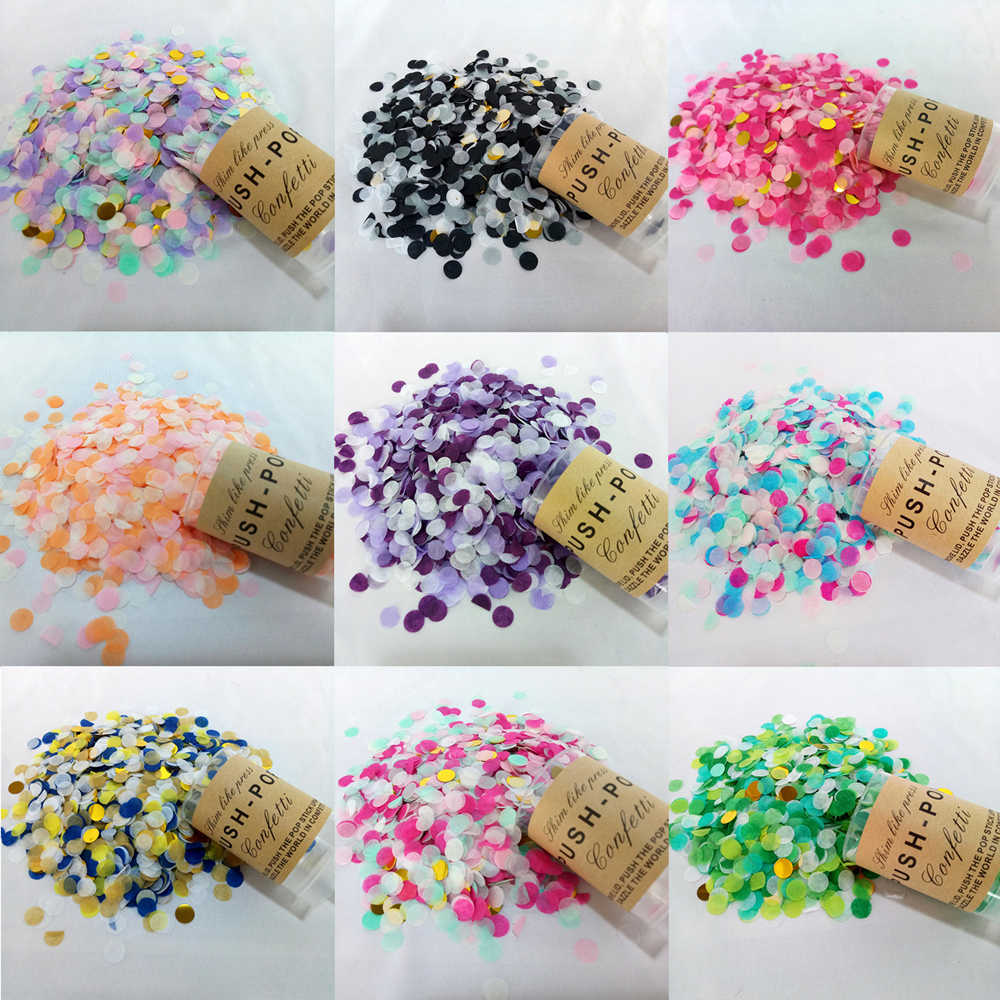 1 Set Mixed Color Push Pop Confetti Push Poppers Wedding Party Decoration 1CM Paper Metallic Confetti Happy Birthday Party Decor
