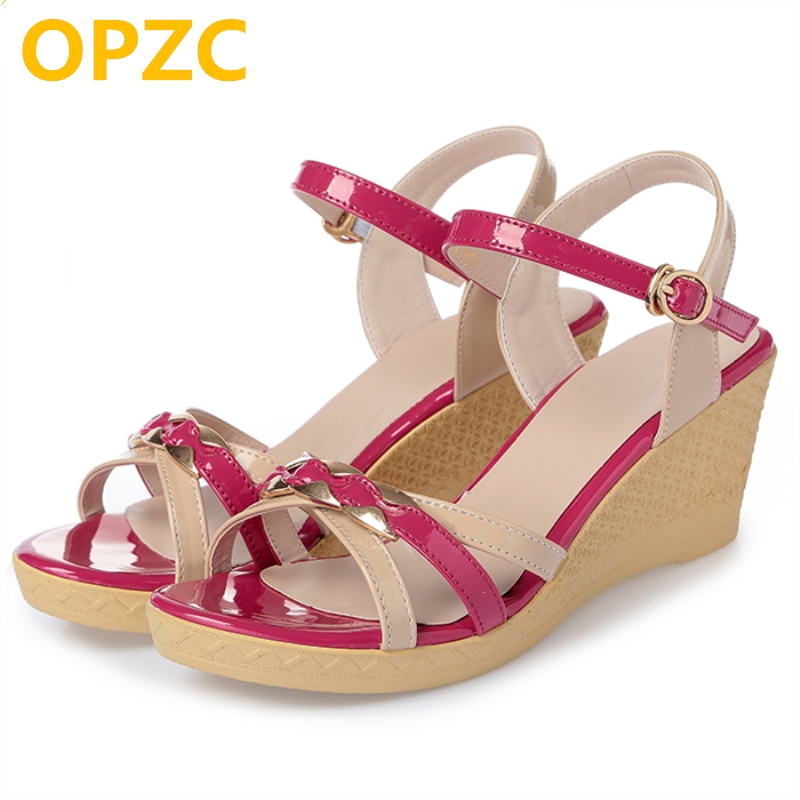 OPZC 2018 Summer newest solid genuine leather woman sandals basic casual shoes leisure narrow band high heel wedges lady shoes new women sandals low heel wedges summer casual single shoes woman sandal fashion soft sandals free shipping