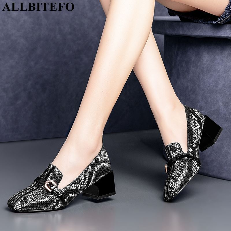 ALLBITEFO Thick Heel Genuine Leather Square Toe Women Shoes High Quality Women High Heel Shoes Office Ladies Shoes Women Heels