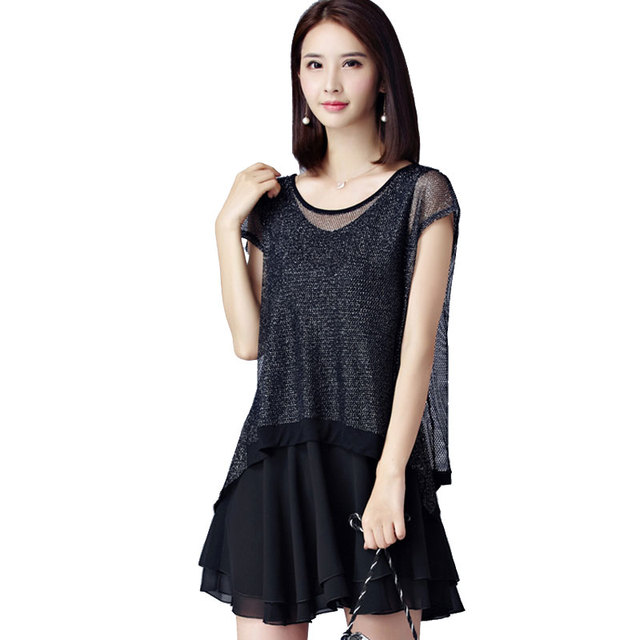 e7591d62229 New Women Casual Basic Summer Dress Black Chiffon Dresses Short sleeves  Loose Plus Size