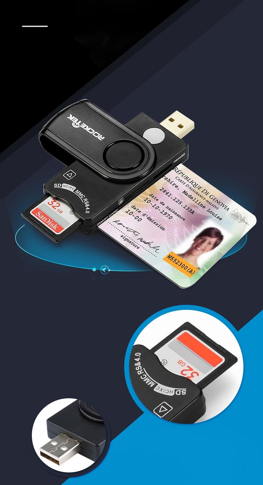 Rocketek USB 2.0 multi Smart Card Reader SD//TF MS M2 micro SD memory ID,Bank
