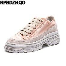0be9aefc Криперы обувь на платформе женские толстой подошве Клин розовый muffin с  круглым носком Атлас кроссовки на