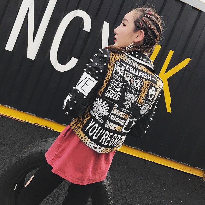 TREND Setter 2017 Herbst Mode Niet Leder Jacke Für Frauen Punk Stil Leoparden Buchstaben Druck Rock Motorrad Street-in Basic Jacken aus Damenbekleidung bei  Gruppe 2