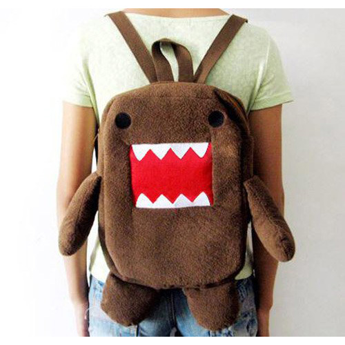 ASDS New Brown DOMO KUN Plush Backpack Toy Cute Sitting Style Baby Toy stray dog style plush pp cotton toy w light brown 2 x aa
