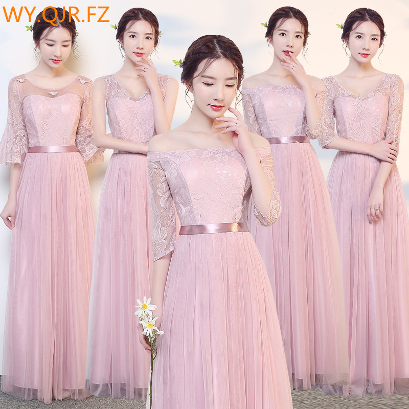 JYLF43D#Cameo brown long elastic waist   Bridesmaid     Dresses   wedding party prom   dress   2018 sister group wholesale women clothing