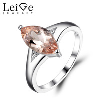 Leige Jewelry Morganite Engagement Ring Pink Gemstone Marquise Cut Promise Rings for Women Sterling Silver 925 Fine Jewelry