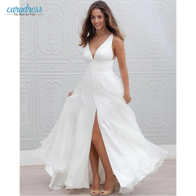 Sexy Deep V Neck Chiffon Bohemian Wedding Dresses 2017 Front Slit Simple  Boho White Chiffon