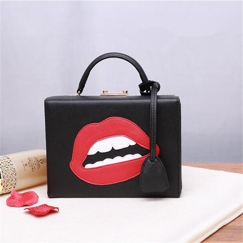 women genuine leather Handbags 2016 summer new fashion vintage ladies small box bag face red lips printing shoulder bag qiaobao 100% genuine leather handbags new network of red explosion ladle ladies bag fashion trend ladies bag