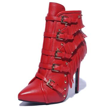 Women pointed toe high heel ankle boots Ladies fringe and buckle decorated thin heel short boots Fashion winter short boots sexy women s short boots with square buckle and pointed toe design