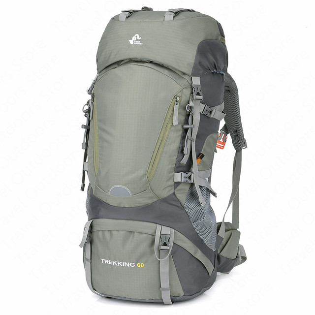 Hiking Backpack 60L Climbing Bag Outdoor Aluminium Alloy External Frame Rucksack Nylon Waterproof Sport Backpack