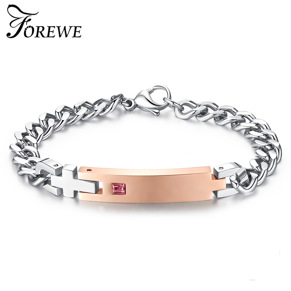 Drop Shipping Unique Gift for Lover Gold Color Crystal Charm Bracelets Bangles Stainless Steel Bracelets For Women Men Jewelry fashion 2 size pure tungsten steel hematite couple bracelets bangles for women jewelry mens silver color bracelets for lover s