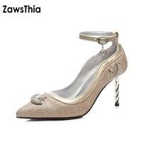 ZawsThia 2018 glitter sequin sexy ragazze pompe partito club scarpe per delle donne sottili tacchi alti donna scarpe con cinturino alla caviglia taglia 46 12