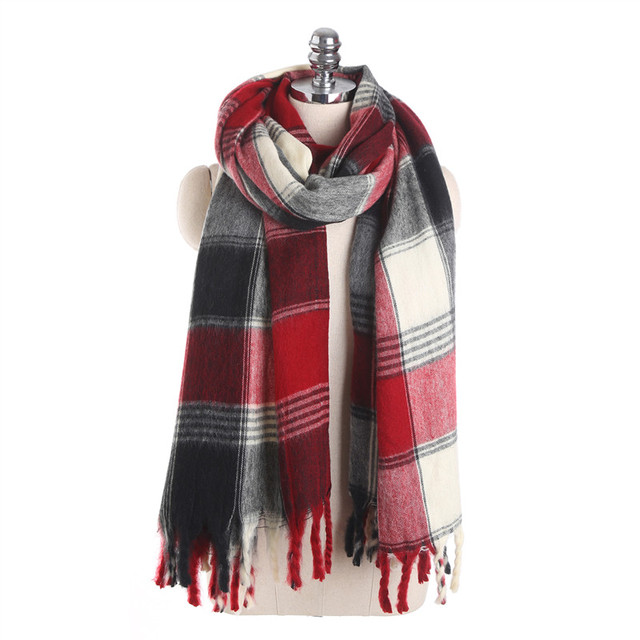 2017 autumn and winter new plaid scarf for women fashion warm long patchwork red and black - Christmas Plaid Scarf