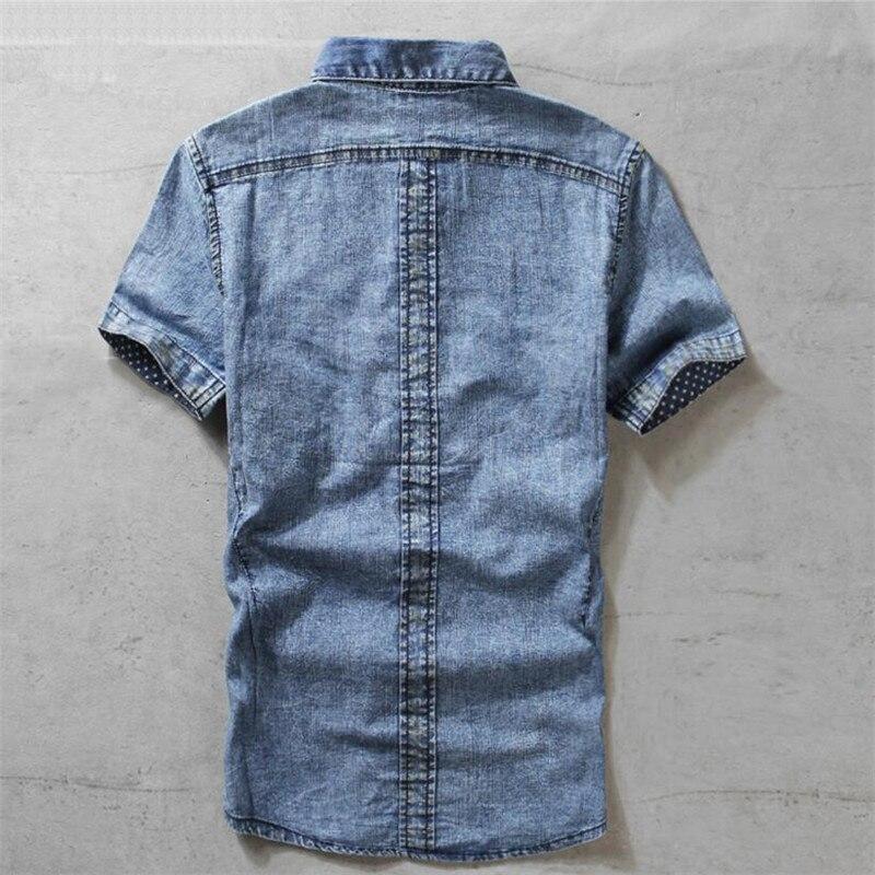 Fashion Jeans Shirt Men Slim Fit Denim Shirt Male Short Sleeve Quality Tops Summer Vintage Korean Camiseta Masculina A5490