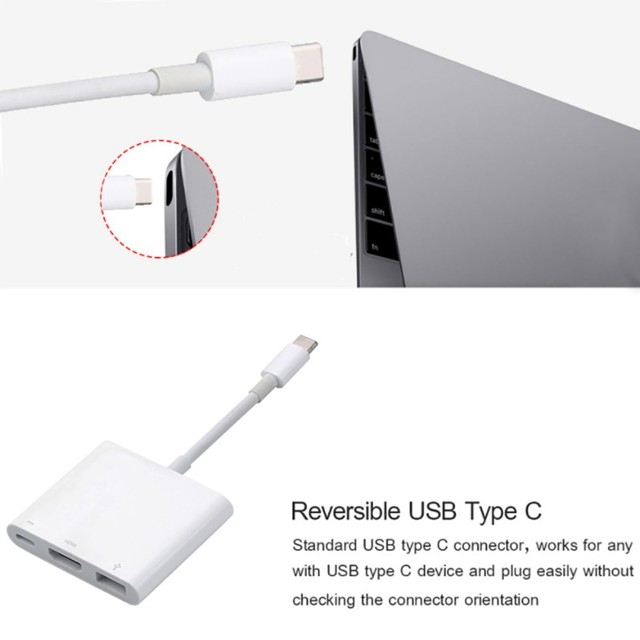 3 ב 1 USB רכזת USB-C כדי USB 3.0/HDMI/סוג C נקבה מטען מתאם עבור Dell עבור macbook XPS 13