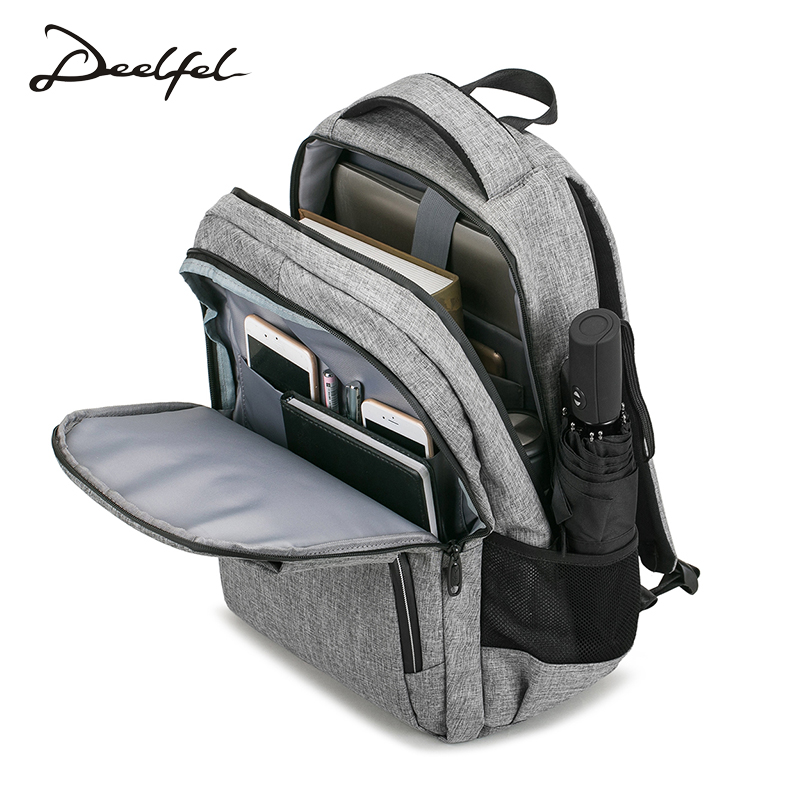 DEELFEL Anti Thief USB Backpack 15.6inch Laptop Backpack For Women Bagpack Men School Backpack Leisure Bag Unisex Travel Mochila vicuna polo men leather usb cable travel laptop backpack with headphone hole school backpack has front pocket bagpack mochila