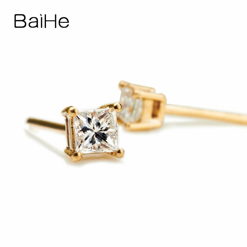 BAIHE Solid 14K Yellow Gold 0.10CT H/SI 100% Genuine Natural Diamonds Wedding Trendy Fine Jewelry Elegant Unique Stud Earrings solid 18k rose gold unique stud earrings for women si h 100% natural diamonds earrings unique trendy party fine jewelry