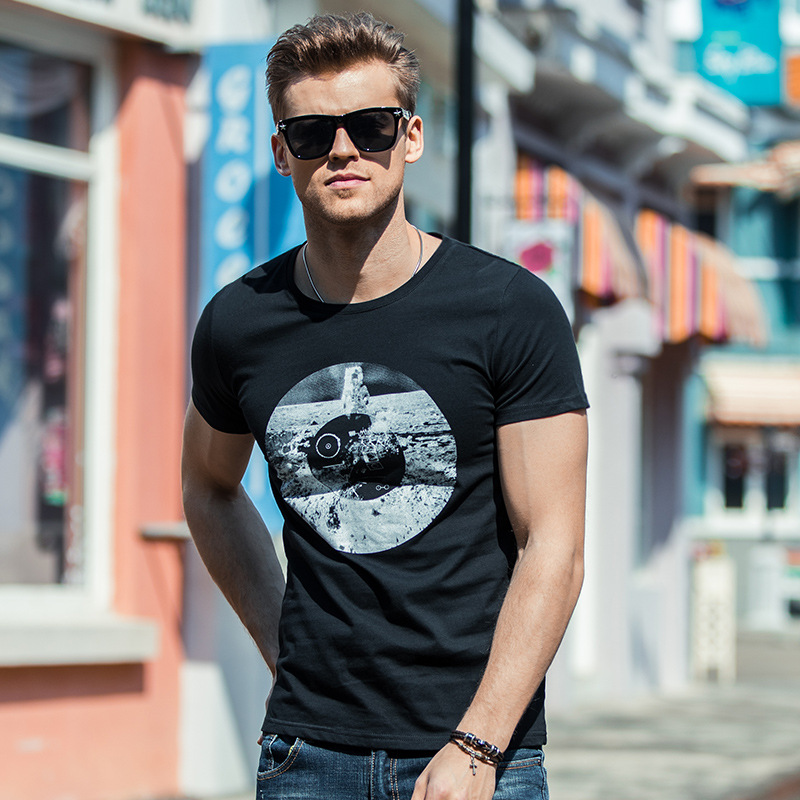Denyblood Jeans Mens T-shirt Black White Print Stretch Cotton Short Sleeve O-neck T-shirts Casual Shirts Tops TS297