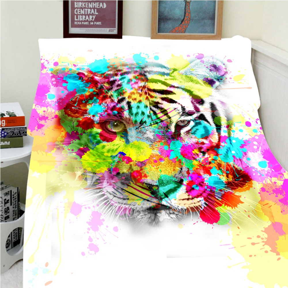 Blankets Warmth Soft Plush Colorful Camouflage White Tiger Sofa Bed Throw a Blanket Thick Thin Cobertor Plaid