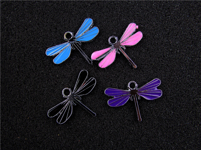 AE660 Mix Color 100Pcs Alloy Metal Enamel Dragonfly Charms Pendant 21x30mm