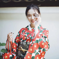 New Red Women Vintage Kimono Cosplay Costume Traditional Japanese Yukata Elegant Printed Lady Formal Evening Dress Gown S M