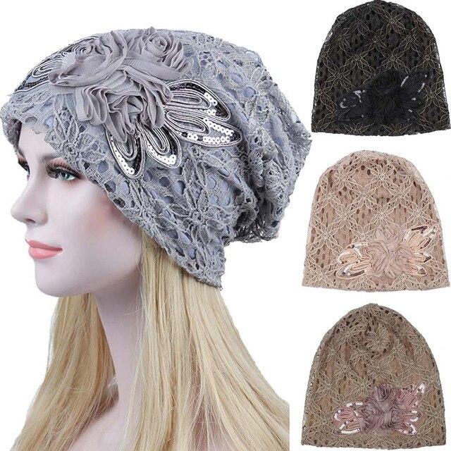 Mujeres encaje flor Slouchy cabeza gorra quimio Beanie cáncer sombrero turbante señora encaje mes cálido sombrero de la terapia cappello donna