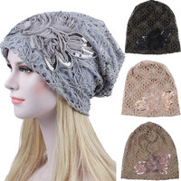 Women Lace Flower Slouchy Baggy Head Cap Chemo Beanie Cancer Hat Turban Ms.  lace month dfad0b6d0551
