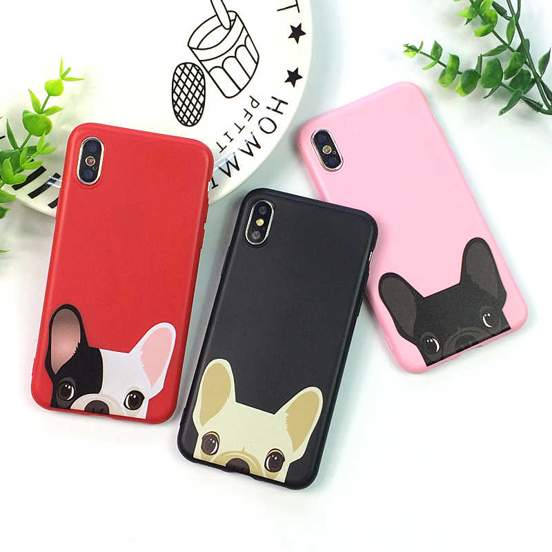 Прекрасная собака бульдог розовый красные, черные чехол для iPhone X XS 11Pro чехол для MAX XR обувь на мягкой подошве; яркий ТПУ чехол для iPhone 7 8 6s Plus, 7 Plus, чехол