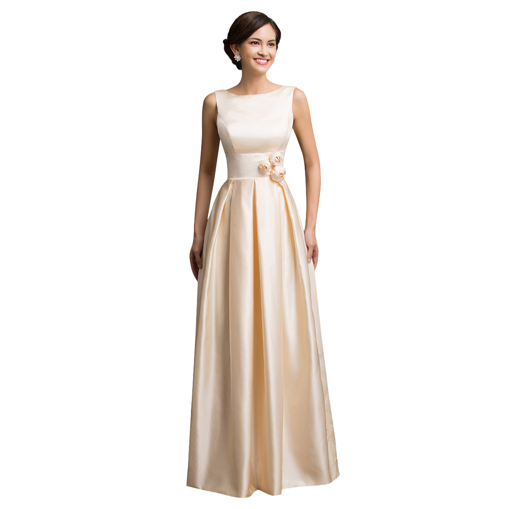 Us 49 56 Popular Simple Cheap Grace Karin Floor Length Long Elegant Evening Dresses Apricot Satin Formal Dress Empire Cl007539 In Evening Dresses