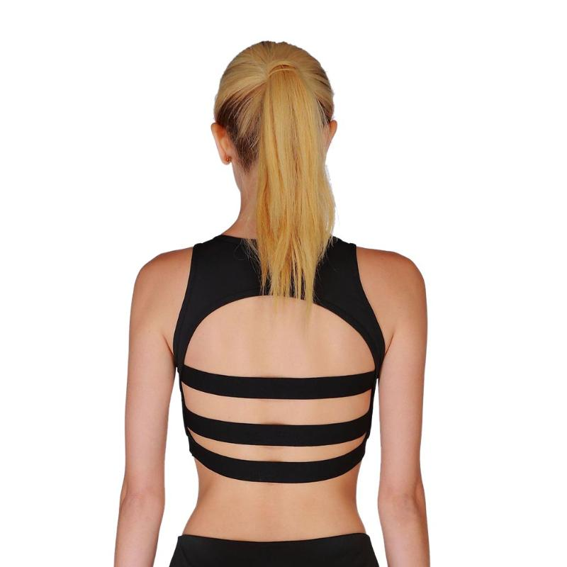 2018 Strap Backless Sport Bras Women Schokproof Running Yoga Top Sexy Breathable Mesh Workout Shirt Camis Ladies Fitness Bra