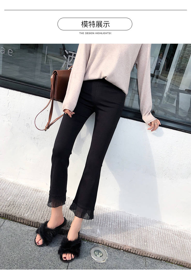 2019 Trousers Women High Waist Bell Bottom Metal Ring Flare Pants Wide Leg Pants Big Plus Size XL Black White Female Capris PP05 33