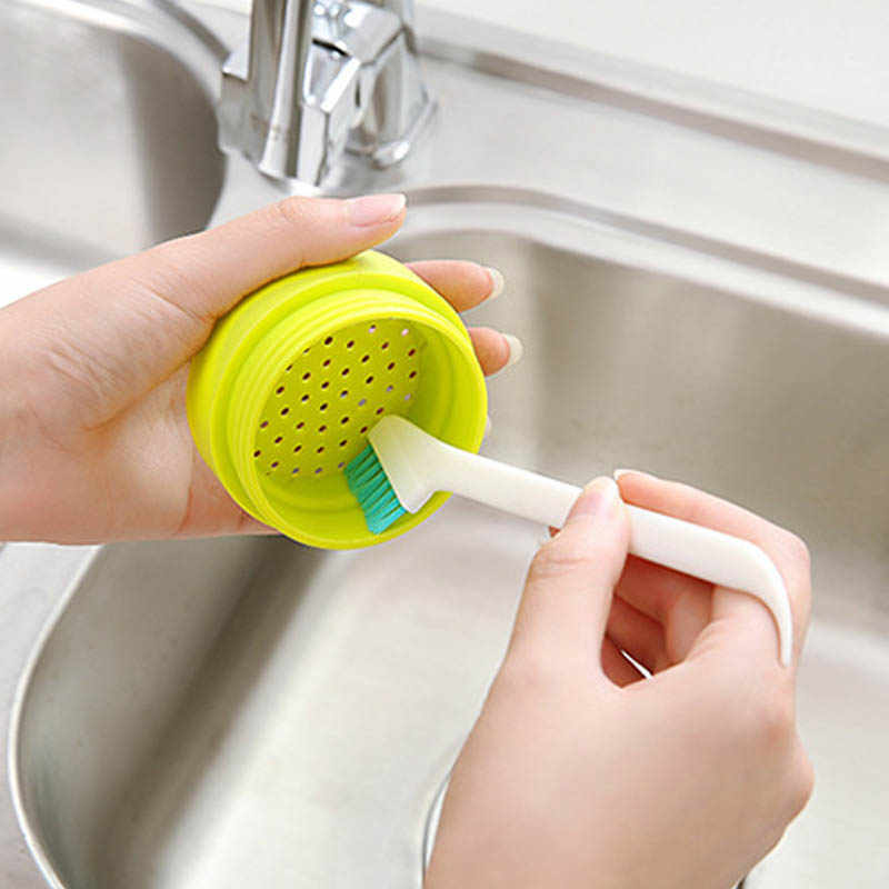 2Pcs Portable Kitchen Cleaning Supplies Crevice Windows Gap Cleaning Tools Long Handle Multifunction  Plastic Cleaning Brush