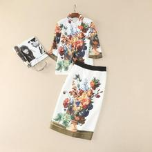 The new Europe and the United States women's 2017 spring Runway looks canvas printing sleeve shirt + skirt fashion suits