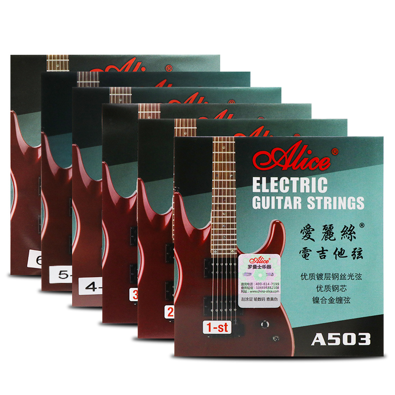 6 Pieces/Set Alice Electric Guitar Strings Steel Core Plated Steel Coated Nickel Alloy Wound Guitar Parts Strings Super Light