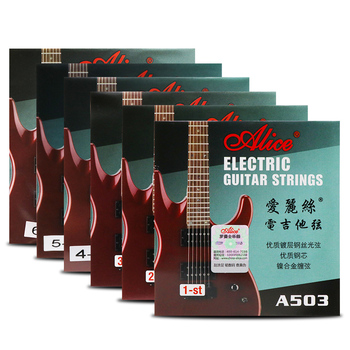 6 Pieces/Set Alice Electric Guitar Strings Steel Core Plated Steel Coated Nickel Alloy Wound Guitar Parts Strings Super Light electric guitar strings 008 to 038 inch plated steel coated nickel alloy wound alice a506