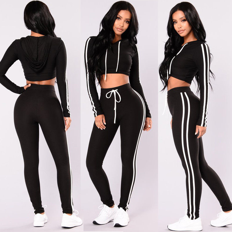 Women Fitness Tracksuit Tights Sport 2pcs Set For Female Clothing Slim Fit Long Sleeve Crop Top+Sport Pant Striped Tracksuits