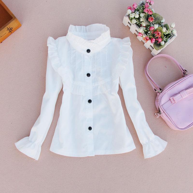 c8a8b564d Estudiantes blanco Camisas para Niñas escuela ropa algodón casual Niñas  Blusas cuello adolescentes uniformes 2 4 6 8 10 12 14 años en Blusas y  Camisas de ...
