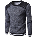 Mens Fashion hoodie sweatshirt long sleeve o neck PU patchwork leather sportsiut Casual Fitness Sweatshirts Men