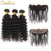 Ossilee Hair Deep Wave Bundles With Closure Remy Hair Lace Frontal With 3 Bundles Brazilian Human