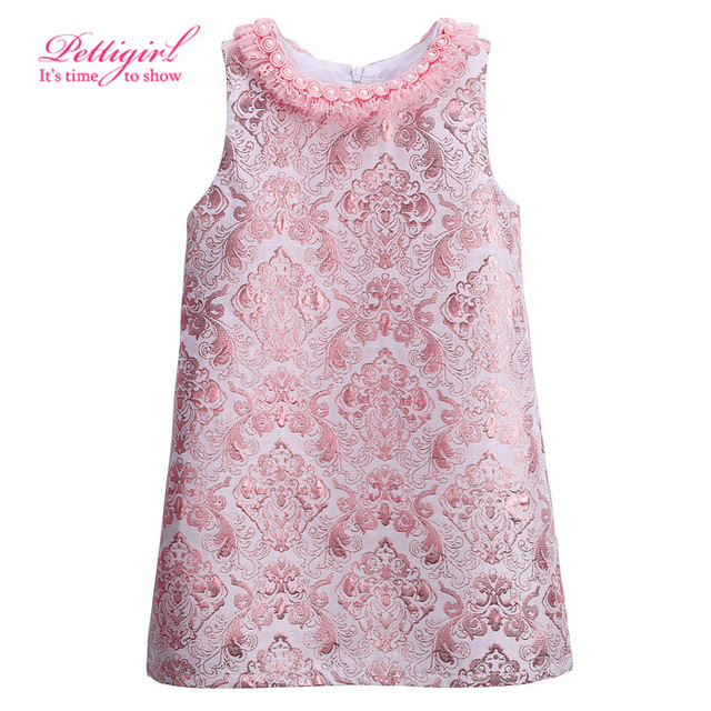 Pettigirl Vintage Girls Dress Girls Dresses Kids Party Clothing Pink Baby Clothes GD81024-125Z