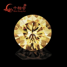 5mm to 12mm  yellow color  Round Brilliant cut Sic material moissanite  loose stone by qianxianghui (vdieo is light yellow)