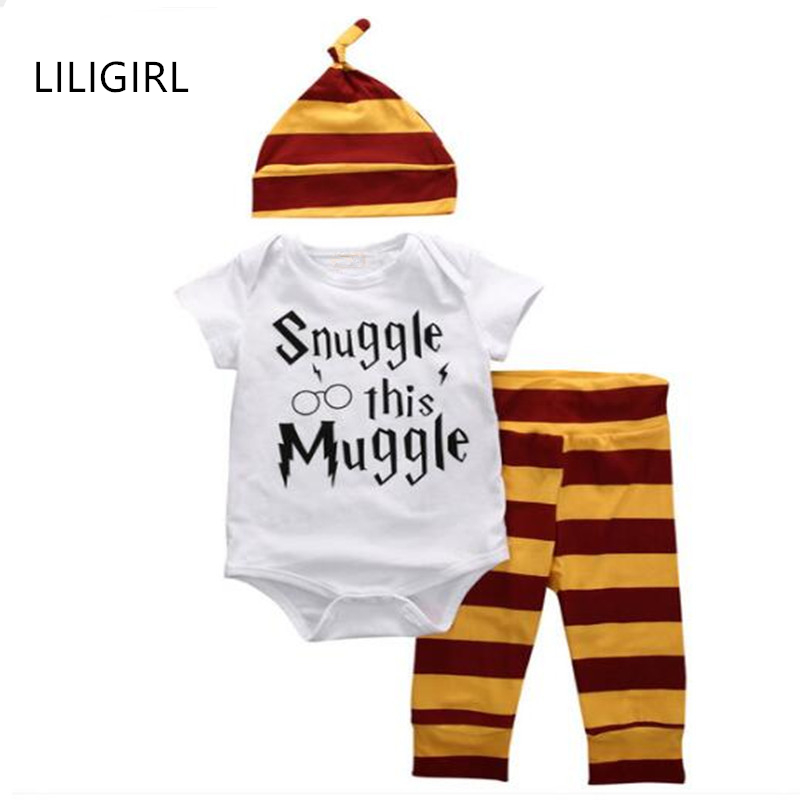 LILIGIRL 2020 Kids Baby Clothes Sets for Boys Girls Rompers White Cotton Letter Suit/T-shirt+Stripe Pants+Hat Overalls Clothing